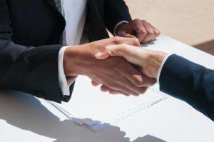 A handshake after a successful job interview