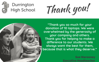 Thank you from school for laptop donations