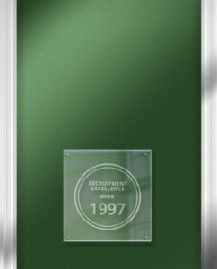 Recruitment Excellence since 1997 plaque on wall